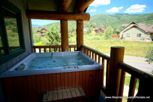 Rental hot tub at Steamboat Vacation Rentals.