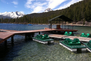 Paddle boats by the dock at Redfish Lake Lodge.