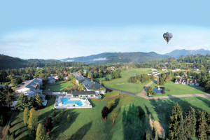 Aerial view of Stoweflake Mountain Resort & Spa.