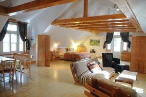 Guest room at Auberge Aux Petits Oiseaux.