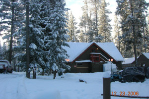 Snow covered cabins at North Shore Lodge & Resort.