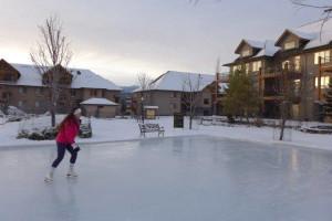 Ice skating at Bighorn Meadows Resort.
