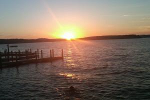 Sunset on the lake at Naswa Resort.
