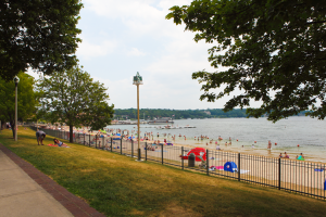 The beach at Harbor Shores.