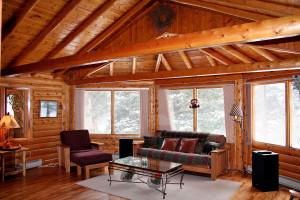 Cottage living room at Lazy R Cottages.