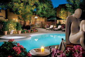 Outdoor pool at La Posada de Santa Fe Resort & Spa.