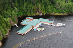 Aerial view of Knight Inlet Lodge.