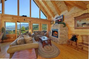 Cabin living room at Aunt Bug's Cabin Rentals, LLC.