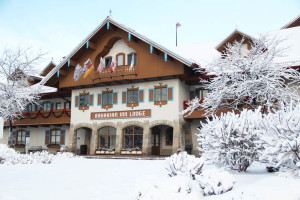 Winter view at Bavarian Inn of Frankenmuth.