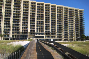 Boardwalk to the beach at Gulf Coast Beach Getaways.
