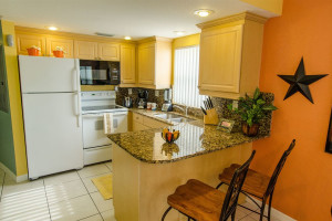 Rental kitchen at Sunsational Beach Rentals. LLC.