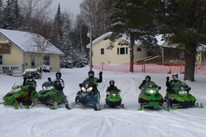 Snowmobiling at Wind Drift Resort.