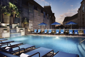 Outdoor pool at Hotel Crescent Court.