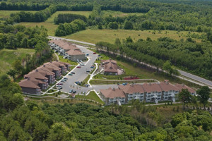 Aerial view of Carriage Ridge Resort at Horseshoe Valley.