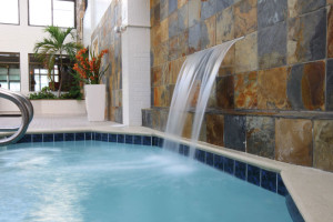 Pool waterfall at Quality Inn Boardwalk Ocean City.