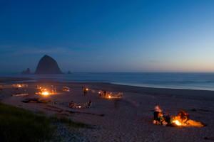 Beach bonfires at Hallmark Resort in Cannon Beach.