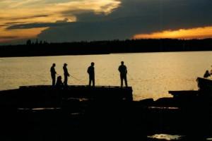 Fishing off the dock at Uchi Lake Lodge.