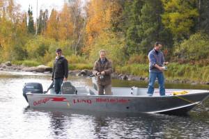 Fishing boat at Milton Lake Lodge Saskatchewan.