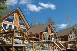 Exterior view of Riverfront Chalets.