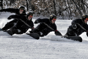 Snowboarding near Aspen Village.
