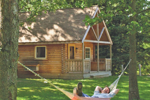 Log cabin exterior at Double JJ Resort.