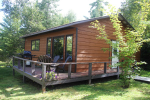 Cabin exterior at Cedar Island Lodge.