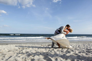 Wedding couple at The Winds Resort Beach Club.