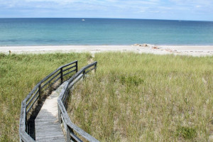 The beach boardwalk at Beach Realty.