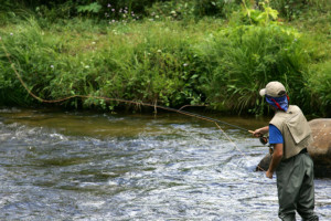 Fly fishing at Aspen Winds.