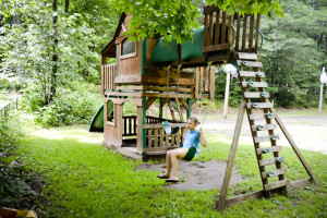 Kid's playground at Tri Lake Timbers Resort.