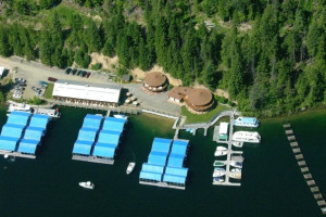 Aerial view of Blue Diamond Marina.