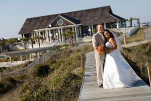 Wedding couple at Bald Head Island Limited.