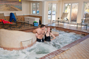 Indoor hot tub at The Meadowmere Resort.
