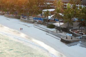 The beach at Hemingways Resort.
