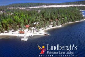 Aerial view of Lindbergh's Reindeer Lake Lodge.