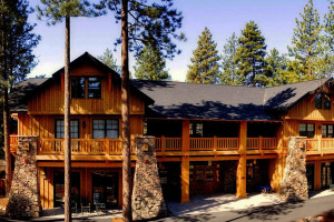 Exterior view of FivePine Lodge.
