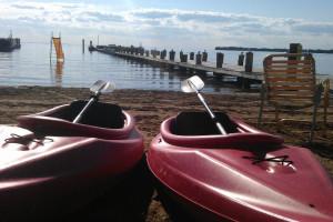 Kayaking at Appeldoorn's Sunset Bay Resort.
