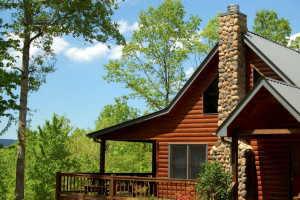 Cabin exterior at Cuddle Up Cabin Rentals.