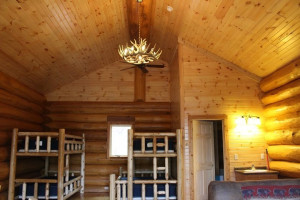 Cabin bunk beds at Aqua Log Cabin Resort.