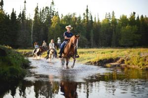 Horseback riding at Falcon Beach Ranch.