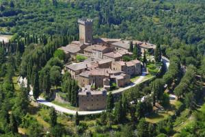 Aerial view of Castello di Gargonza.