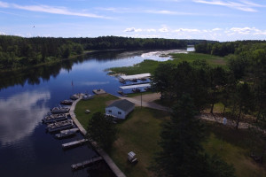 Aerial view of Becker's Resort & Campground.