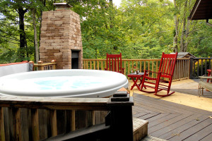 Rental hot tub deck at Pioneer Rental Management.
