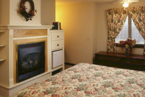 Guest bedroom at The Mountain Inn.