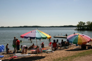 The beach at Ten Mile Lake Resort.