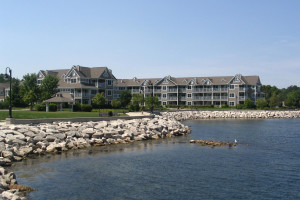 Exterior view of Bridgeport Waterfront Resort by the lake.