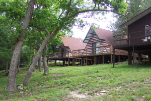 A frame cabins at Calm Waters Resort.