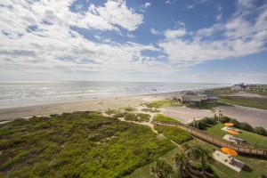 The beach at Holiday Inn Club Vacations Galveston Beach Resort.