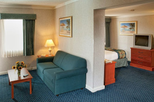 Guest room at Best Western PLUS Oceanfront Virginia Beach.