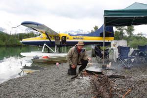 Cooking fish at Deep Creek Fishing Club.